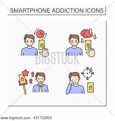 Smartphone Addiction Color Icons Set. Virtual World. Encouraging Self Absorption, Diminishing Abilit