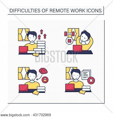 Remote Work Color Icons Set. Career Advancement, Lack Of Physical Activities. Learning And Mentorshi
