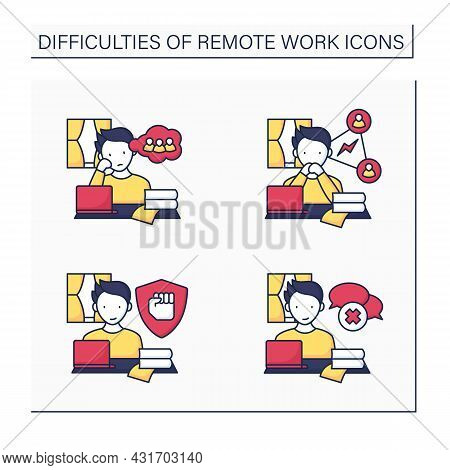 Remote Work Color Icons Set. Stayed Motivated, Loneliness, Collaboration. Spontaneous Conversations.