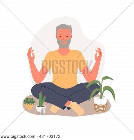 Old People Training Yoga To Concentrate On Healing Aura, Practice Asana In Lotus Position