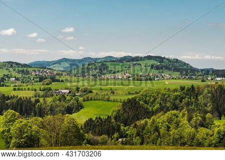 Hilly Landscape In  Black Forest With View Of St. Maergen With Monastery Church, Baden-wuerttemberg,
