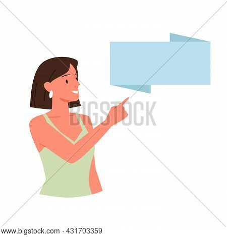 Woman Pointing Finger At Banner Poster, Girl In Dress Showing Board Blank Advertisement