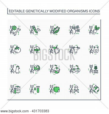 Genetically Modified Organism Line Icons Set. Genetic Engineering.editing Gene.dna Intervention.micr