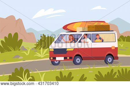 Family Tourists Travel By Car Bus Camper Van On Road, Summer Vacation Trip Adventure