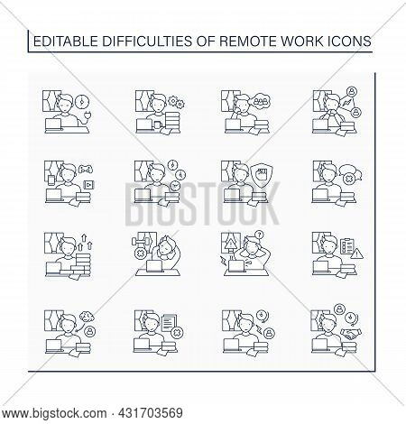 Remote Work Line Icons Set. Distance Work Troubles. Loneliness, Unproductivity. Career Difficulties