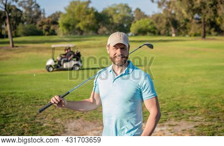 Summer Activity. Professional Sport Outdoor. Male Golf Player On Professional Golf Course.