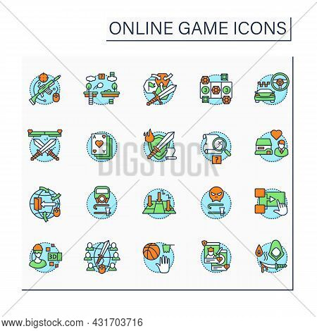Online Game Color Icons Set. Different Game Types. Arcade, Role Play, Simulation. Virtual Reality. M