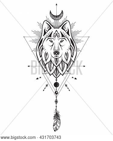 Vector Illustration Of Black And White Wolf, Moon, Feather, Sacral Geometric Simbols Isolated On Whi