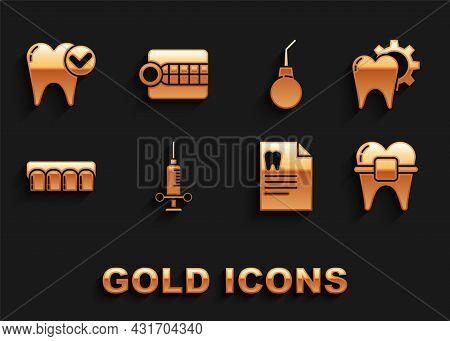 Set Dental Medical Syringe, Tooth Treatment Procedure, Teeth With Braces, Clipboard Dental Card, Den