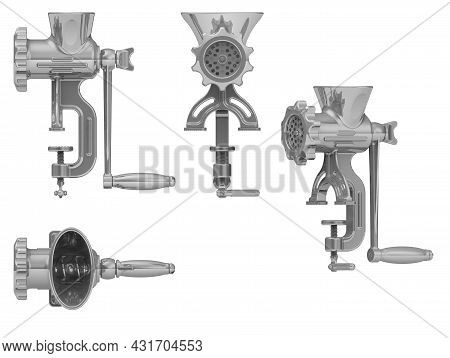Manual Meat Grinder. The Old Manual Meat Grinder Isolated On White Background. 3d Illustration