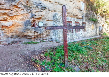 Cave Monastery  From The 13th Century In Saharna Village From Moldova . Old Place Of Worship . Woode