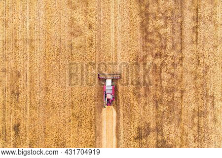 Aerial View Drone Of Harvest Field With Tractor Mows Dry Grass. Autumn Yellow Field With A Haystack