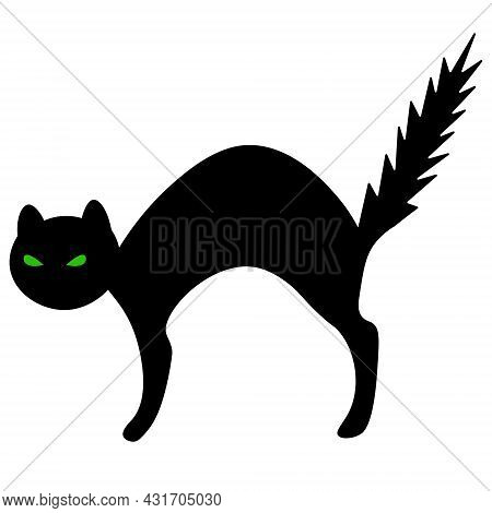 Cat. Green Eyes. The Frightened Animal Bristled. Silhouette. Vector Illustration. Outline On An Isol