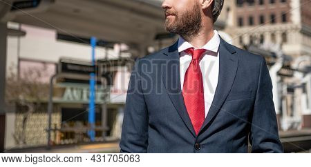 Modern Business Life Of Cropped Businessperson In Red Tie, Copy Space, Agile Business