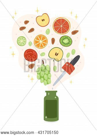 Illustration Of A Cosmetic Product Containing Vitamins And Acids From Natural Fruits. Illustrates Na