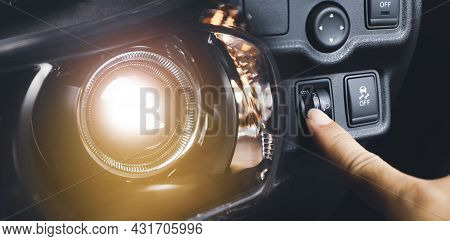 Driver Hand Adjusting Headlight Level Switch And Car Headlight Bright,double Exposure Automotive Con