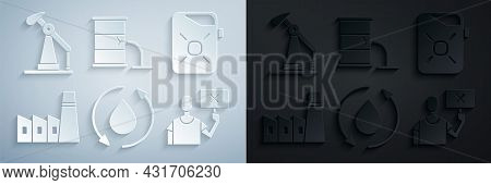 Set Oil Drop, Canister For Motor Oil, Industrial Factory Building, Nature Saving Protest, Barrel Lea
