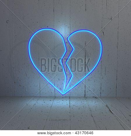 Illuminated broken heart illustration in amodern  background