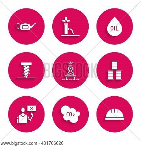 Set Oil Rig With Fire, Co2 Emissions In Cloud, Worker Safety Helmet, Barrel Oil, Nature Saving Prote