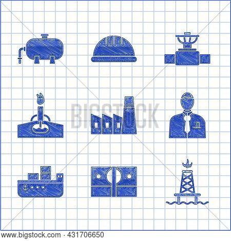 Set Oil Industrial Factory Building, Stacks Paper Money Cash, Rig With Fire, Businessman Stock Marke