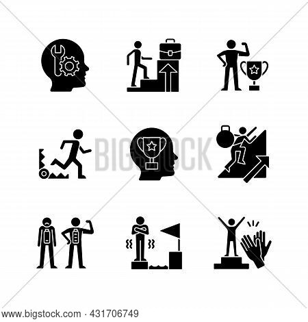 Strong Motivation Black Glyph Icons Set On White Space. Reach Goal. Fear Of Failure. Desire For Reco