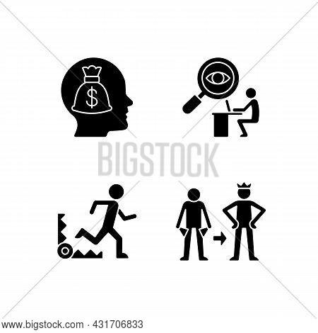 Extrinsic Motivation Black Glyph Icons Set On White Space. Money Reward Booster. Fear Based Stimulus