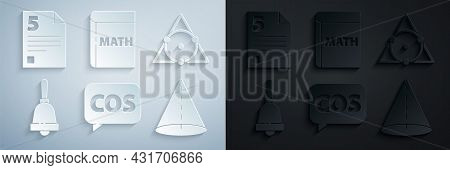 Set Mathematics Function Cosine, Triangle Math, Ringing Bell, Geometric Figure Cone, Book With Word