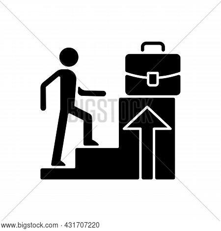 Promotion Black Glyph Icon. Career Raise As Motivation. Better Employee Performance. Worker Advancem