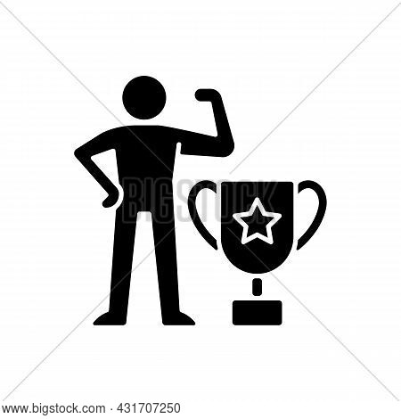 Power-based Motivation Black Glyph Icon. Desire For Prestige. Having Control Over People. Impact Peo