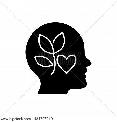 Intrinsic Motivation Black Glyph Icon. Inner Desire To Do Something. Individual Interest. Satisfacti