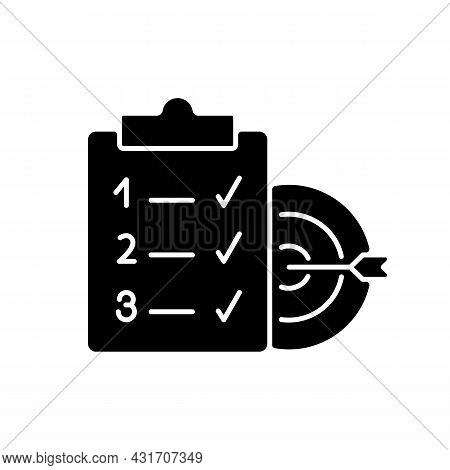 Clear Goals Black Glyph Icon. Set Realistic And Unambiguous Aim. Reach Goal Step By Step Within Time