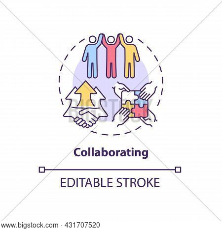 Collaborating Concept Icon. Team Cooperation. Productive Relationship Style. Conflict Management Str