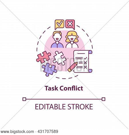 Task Conflict Concept Icon. Coworkers Disagree On Group Assignment. Team Dispute. Conflict Managemen