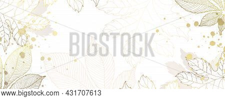 Luxurious Golden Wallpaper. White Background And Beautiful Autumn Leaves. Golden Chestnut And Maple