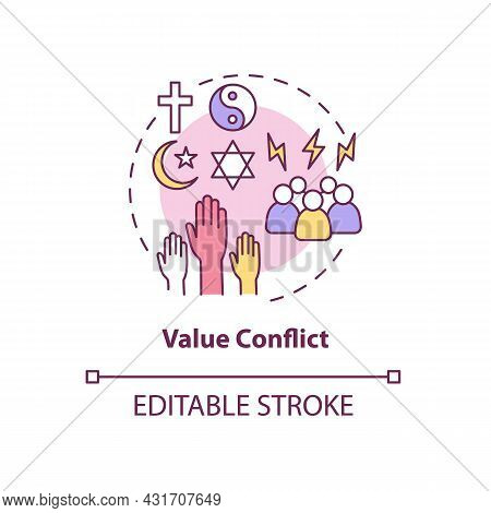 Value Conflict Concept Icon. Disagreement About Personal Beliefs And Religion. Conflict Management A