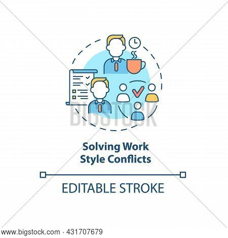 Solving Work Style Conflict Concept Icon. Resolving Workplace Arguments. Conflict Management Abstrac
