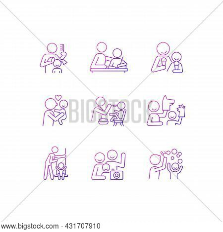 Bonding Activity Gradient Linear Vector Icons Set. Braiding Pigtails. Help With Homework. Kissing Ch