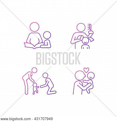 Family Bonding Time Gradient Linear Vector Icons Set. Storytelling With Kid. Brushing Child Hair. Ba