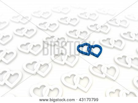 Two hearts pictogram  in a stylish white background