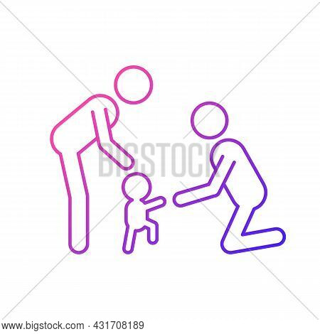 Teaching Toddler To Walk Gradient Linear Vector Icon. Baby First Steps. Child Motor Development. Bon