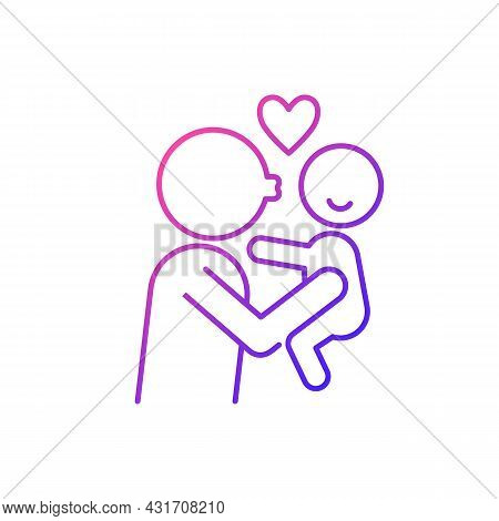 Kissing Child On Cheek Gradient Linear Vector Icon. Showing Affection. Express Parental Love To Baby