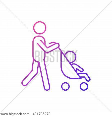 Walking With Stroller Gradient Linear Vector Icon. Early Bonding Time With Newborn. Walk With Baby C