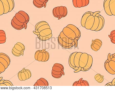 Pumpkins Seamless Pattern. Thanksgiving Holiday Background. Abstract Background With Pumpkins For Pr