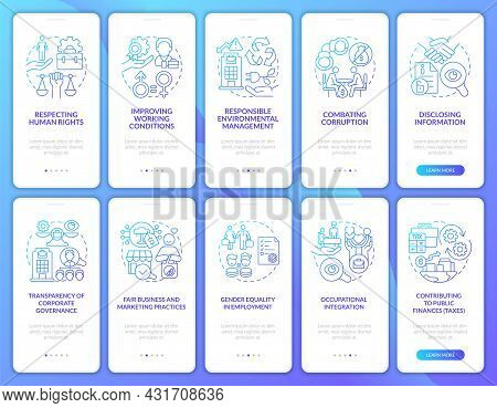 Csr Related Blue Gradient Onboarding Mobile App Page Screen Set. Rights At Workplace Walkthrough 5 S