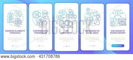 Csr Basics Blue Gradient Onboarding Mobile App Page Screen. Company Responsibility Walkthrough 5 Ste