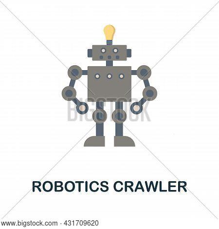 Robotics Crawler Flat Icon. Colored Sign From Robotics Engineering Collection. Creative Robotics Cra