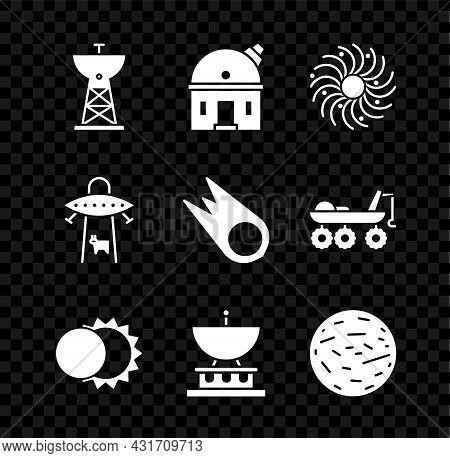 Set Satellite Dish, Astronomical Observatory, Black Hole, Eclipse Of The Sun, Planet Venus, Ufo Abdu