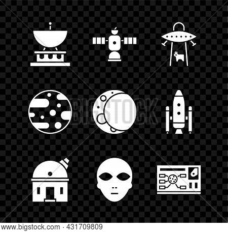 Set Satellite Dish, Ufo Abducts Cow, Astronomical Observatory, Alien, Futuristic Hud Interface, Plan