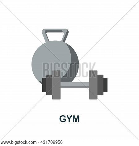 Gym Flat Icon. Colored Sign From Small Business Collection. Creative Gym Icon Illustration For Web D