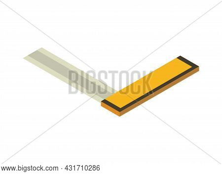 Angle Isometric Hand Tool. Detailed Icon Of Tool For Handyman Repair. Vector Equipment Of Builder In